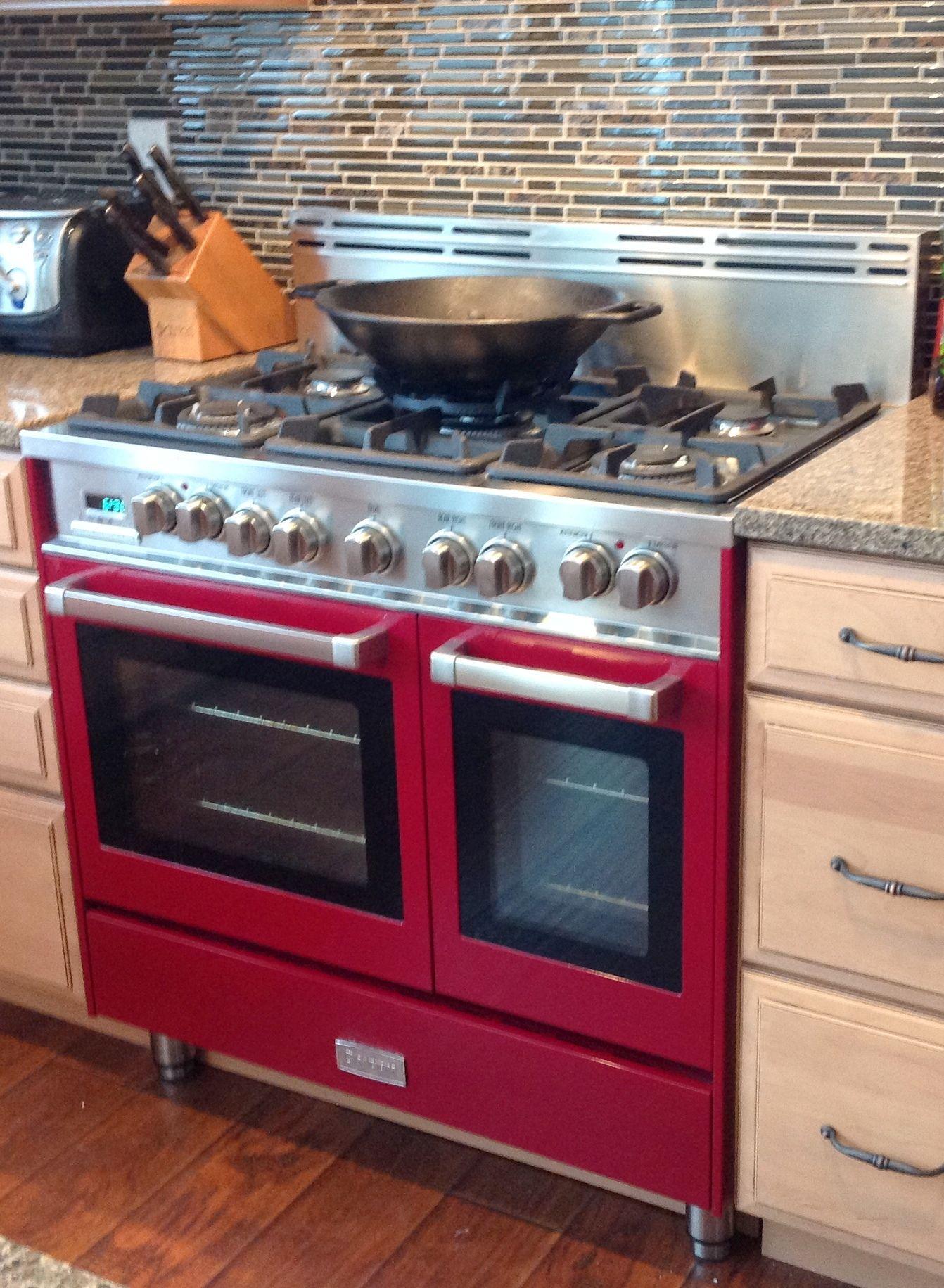 Verona 36 Inch Double Oven Range In Burgundy Adams