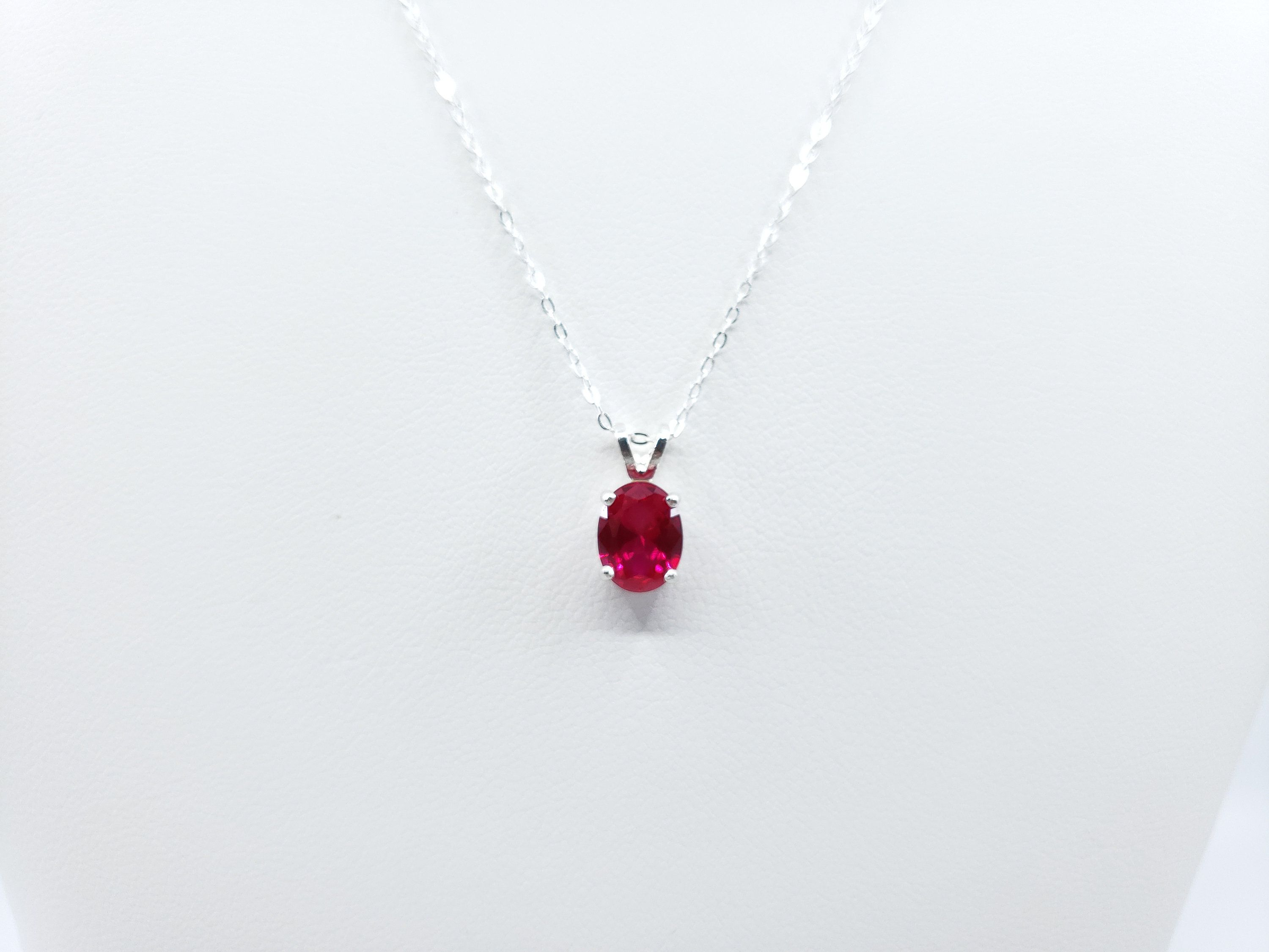 Large Oval Ruby Necklace Sterling Silver July Birthstone Luxury Star Cut 11 CT Red Ruby Pendant