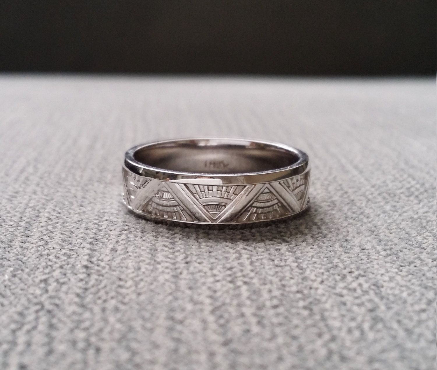 art deco mens wedding band ring pattern antique unique egyptian
