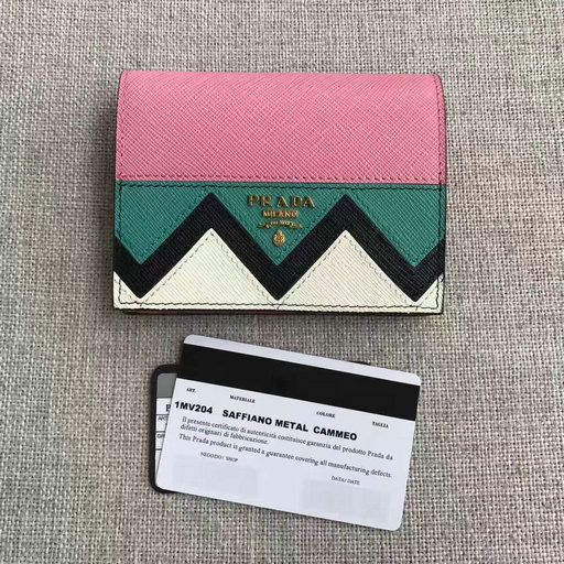 eb37bd4e7e98 2017 New Prada Saffiano Leather Wallet 1MV204 with multicolored Greek key  motif