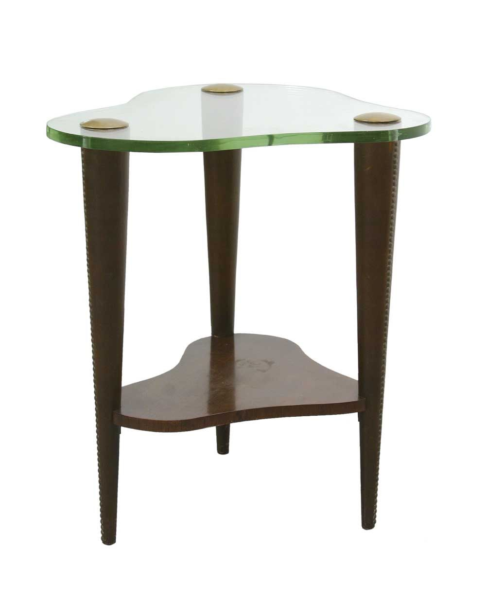 Early hall table with organic shaped glass top on leather wrapped wooden legs. By Gilbert Rohde for Herman Miller, USA, circa 1939.