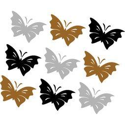 Väggdekor 9st Fjärilar  Strl 56x37 mm  Svart,Silver,Guld