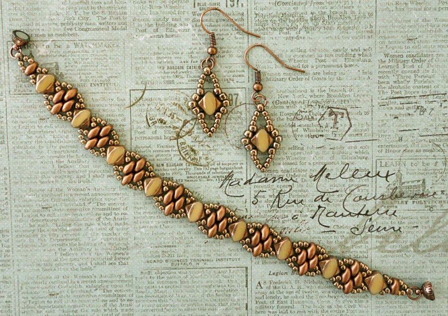 Linda's Crafty Inspirations: Bracelet of the Day: Silky Stacker - Ivory Copper
