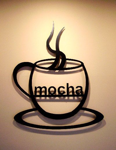 Coffee Wall Art | Mocha Coffee Cup Metal Wall Art Decor Silhouette ...