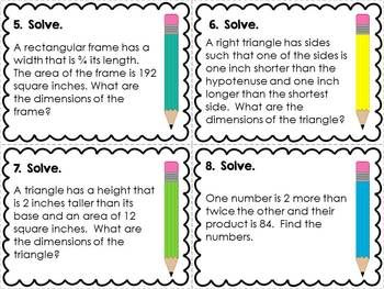 Quadratic Word Problems Task Cards | Algebra  | Maths algebra