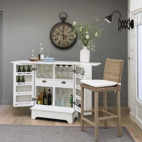 Meuble de bar en bois blanc L 80 cm Bar Pinterest Country style