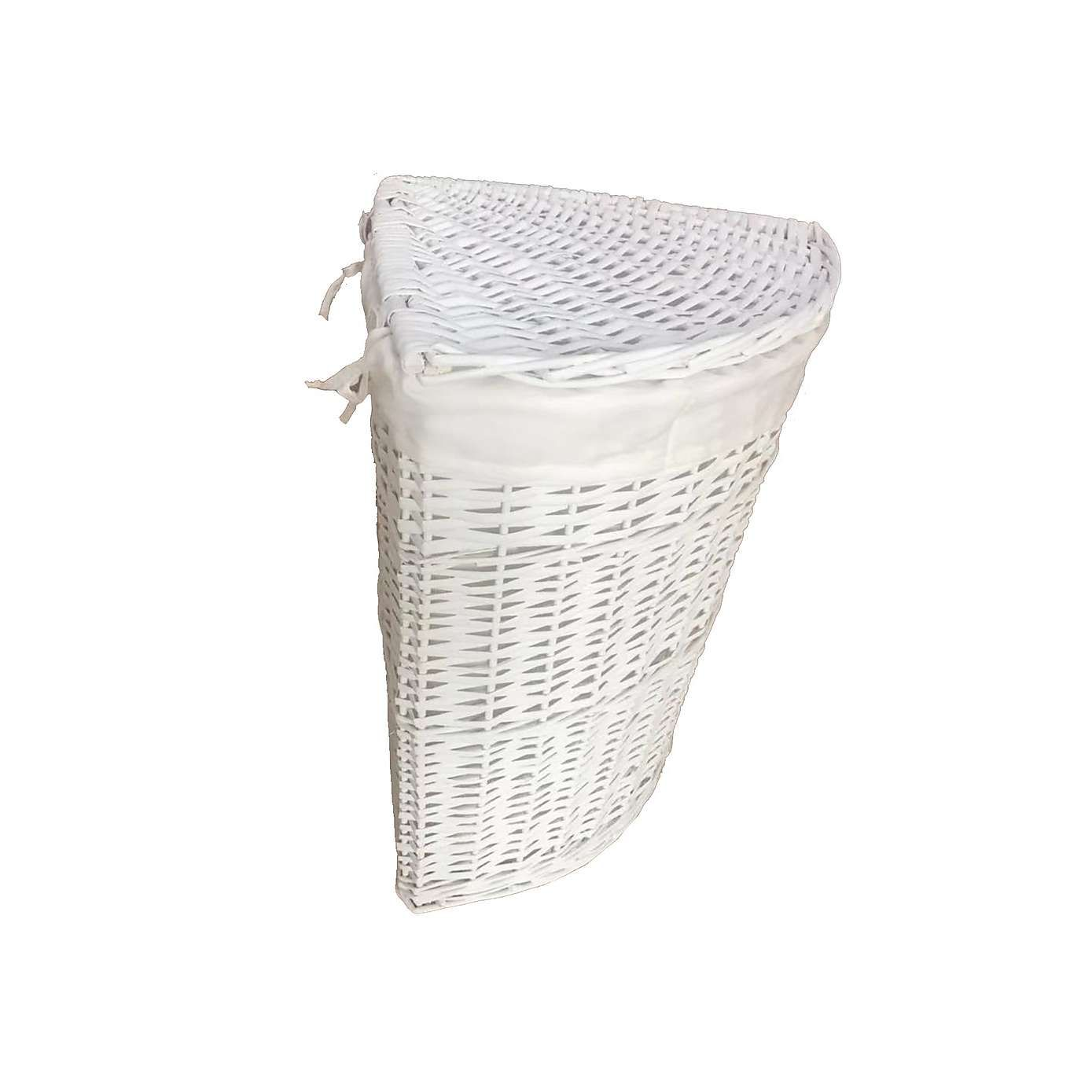 Versailles White Corner Basket Basket Wicker Hamper Storage