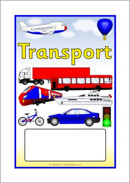 Transport editable topic book covers (SB14) - SparkleBox