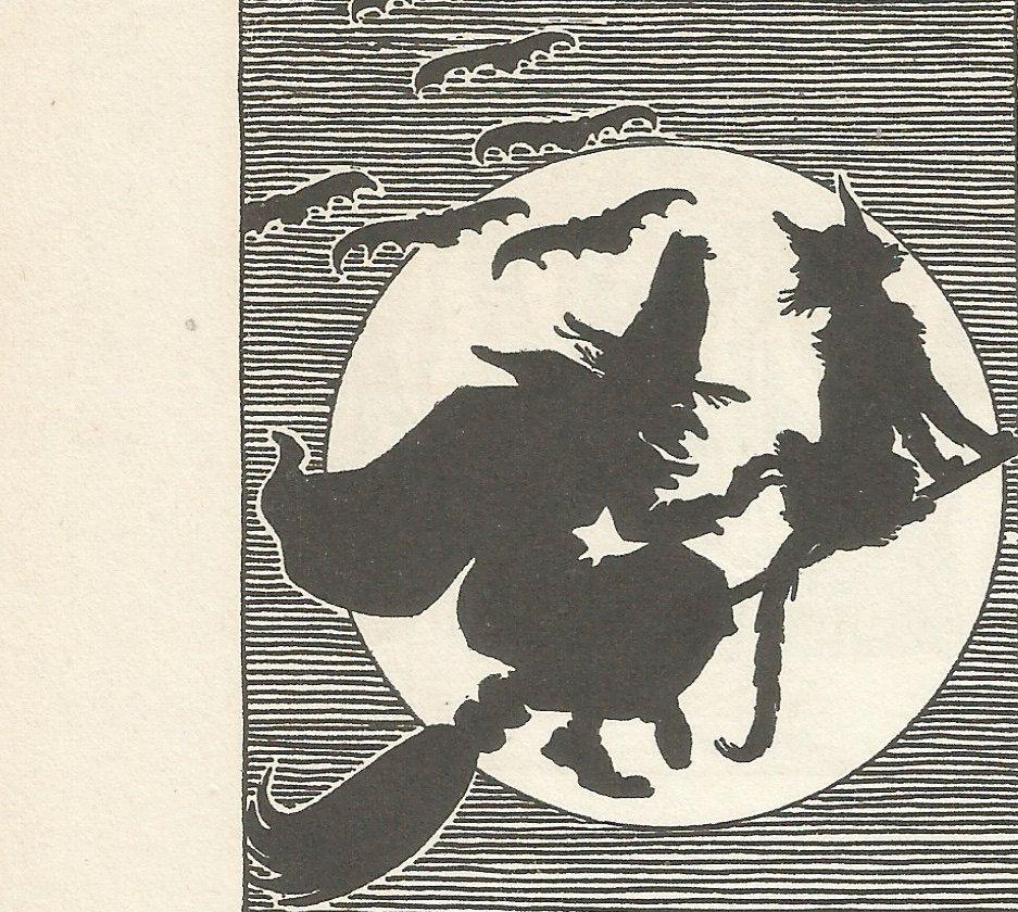 Vintage Children' Book Illustration Halloween Witch Moon