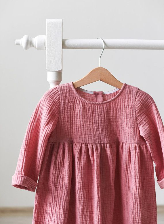 20443f8dfe971 Muslin Baby Dress, Muslin Toddler Dress, Cotton Gauze, Pin, Mustard ...