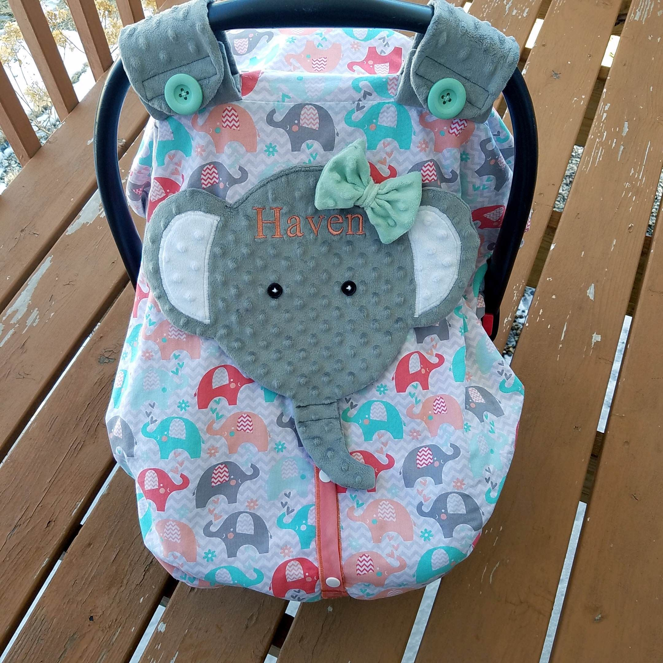 Made To Order Personalized Cotton And Minky Fitted Elephant Car Seat Canopy With Peek A Boo Opening Plus Snap