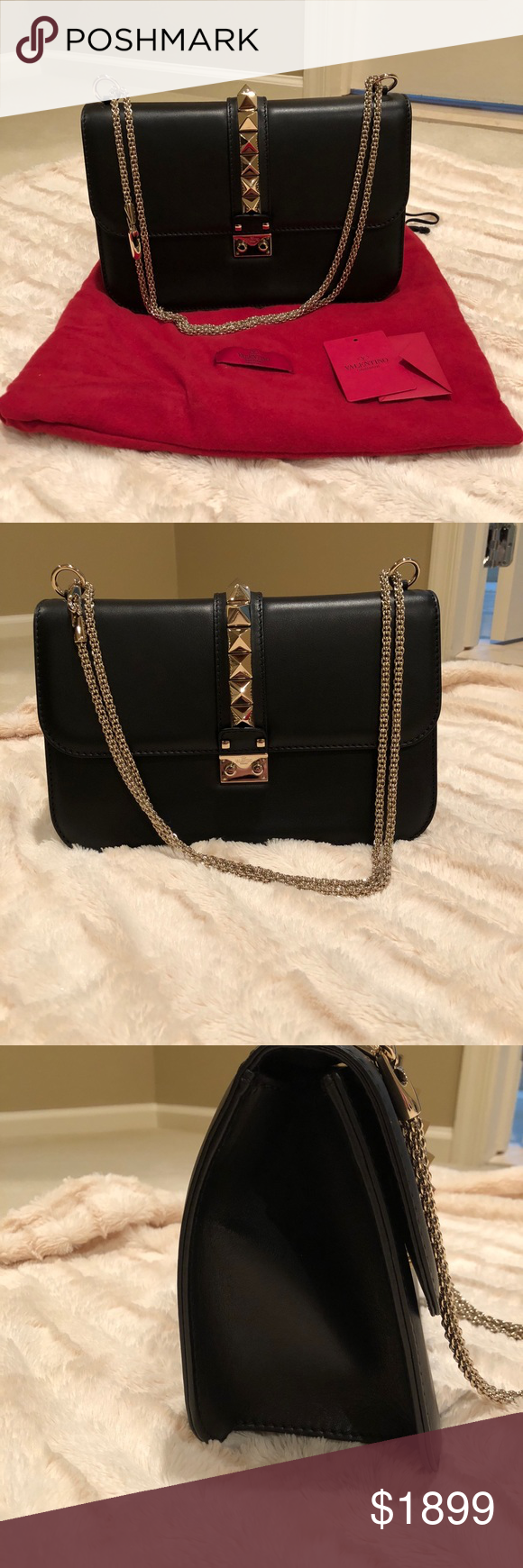 81b9d87fa92f Valentino Rockstud Glam Lock Large Flap Bag Black Brand new, with dust bag  and tags