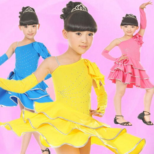Girls Dancewear Kids Latin Dress Skin-friendly Dancing Outfit Stage Ruffle Skirt