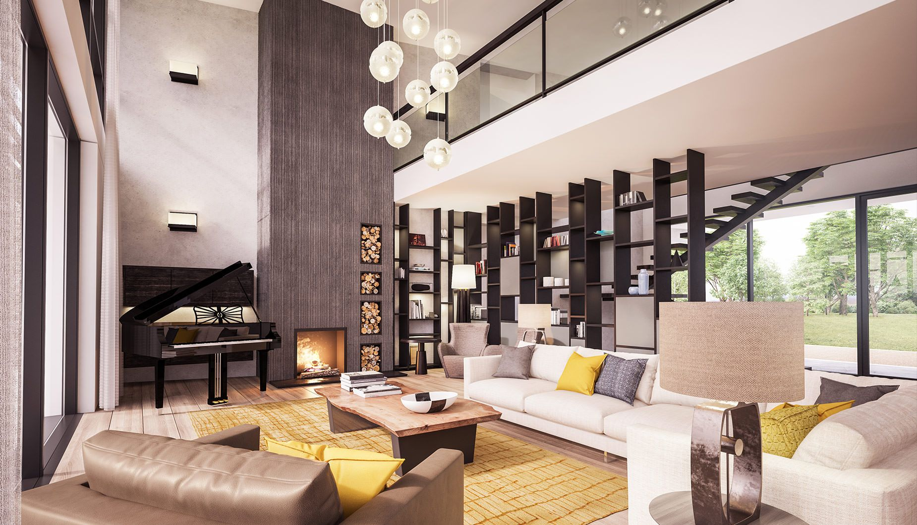 Double Volume Statement Living Room With Feature Rivven Stone