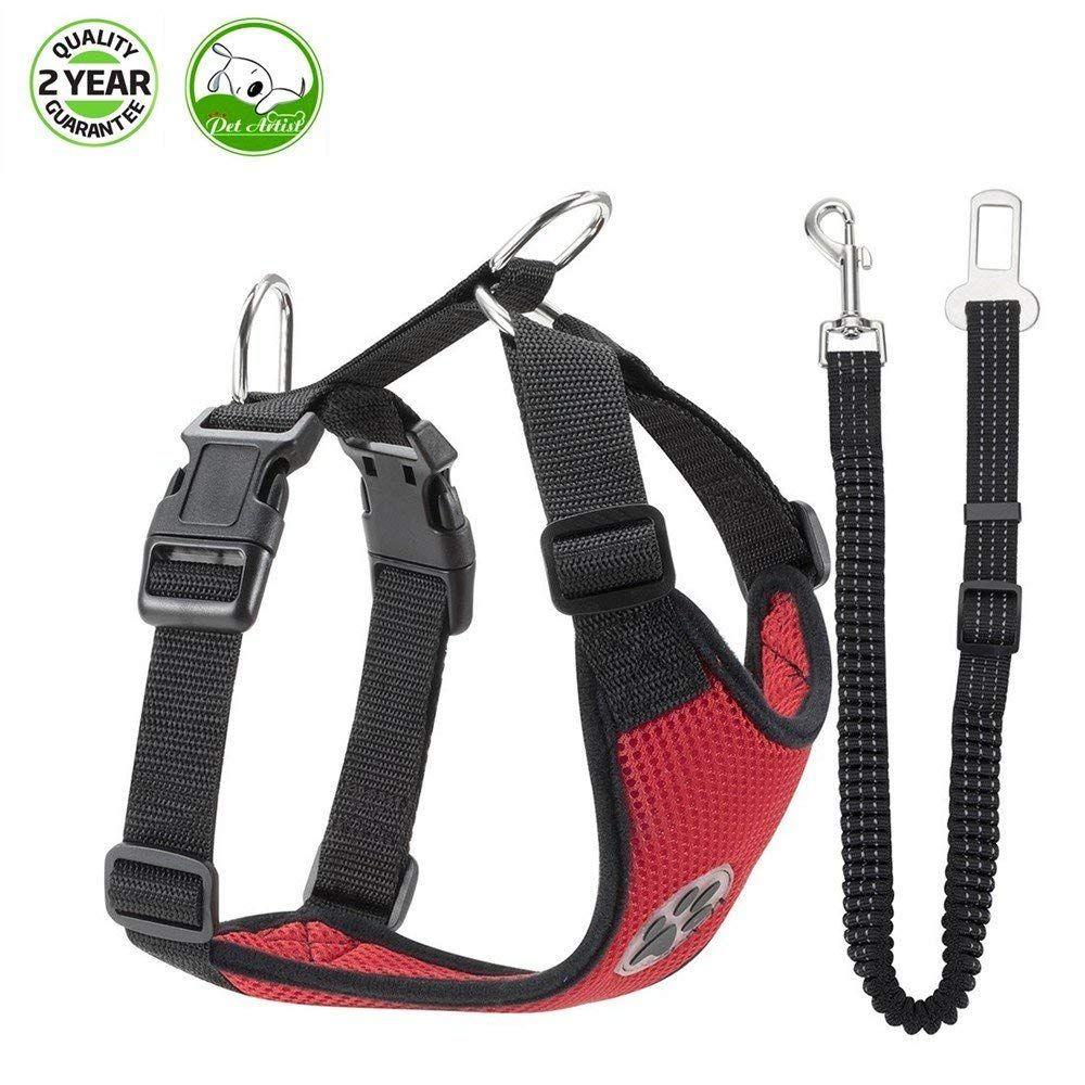 Dog Safety Vest Harness, Adjustable Double Breathable Mesh