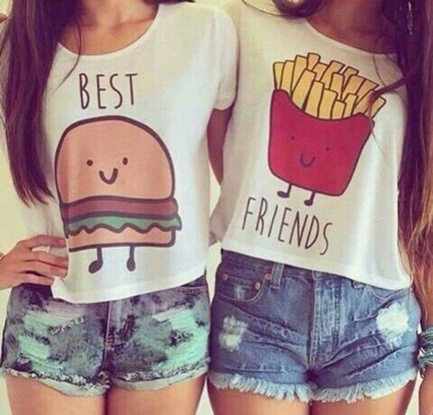 680804e82 shirt hamburger frites girl cute friends best friend shirts t-shirt blouse