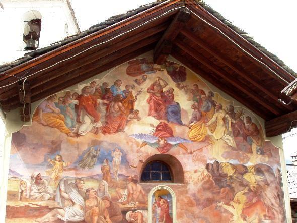Ayas, Lignod (Valle d'Aosta) - Giudizio universale sulla facciata  cappella di San Giovanni Battista