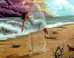 Black Jesus Art Footprints Ii Lester Kern Reflexiones