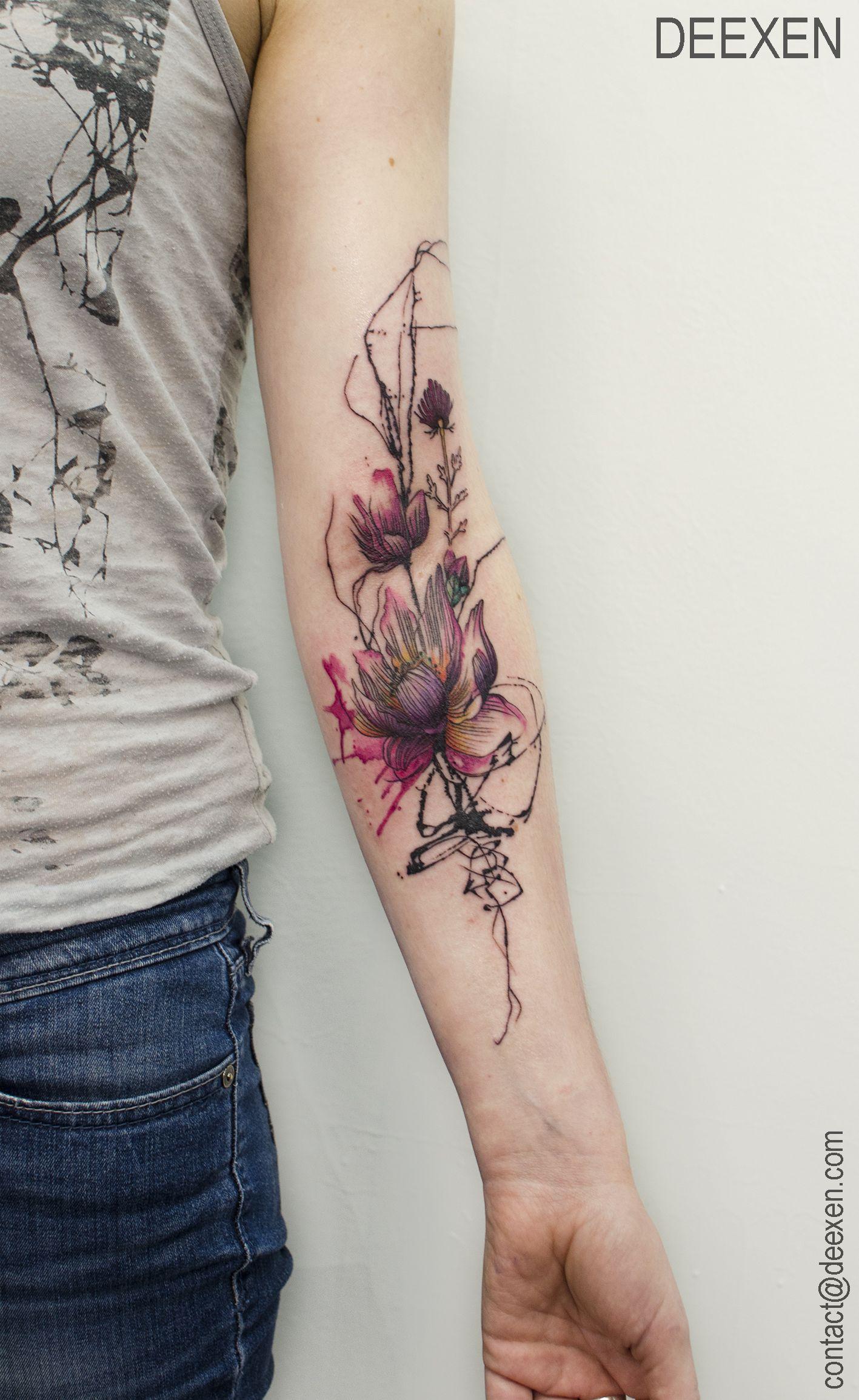 Flowers Tattoo By Klaim Street Tattoo: Lotus Heart Deep In #tattoo #tattoos #tatouage #watercolor