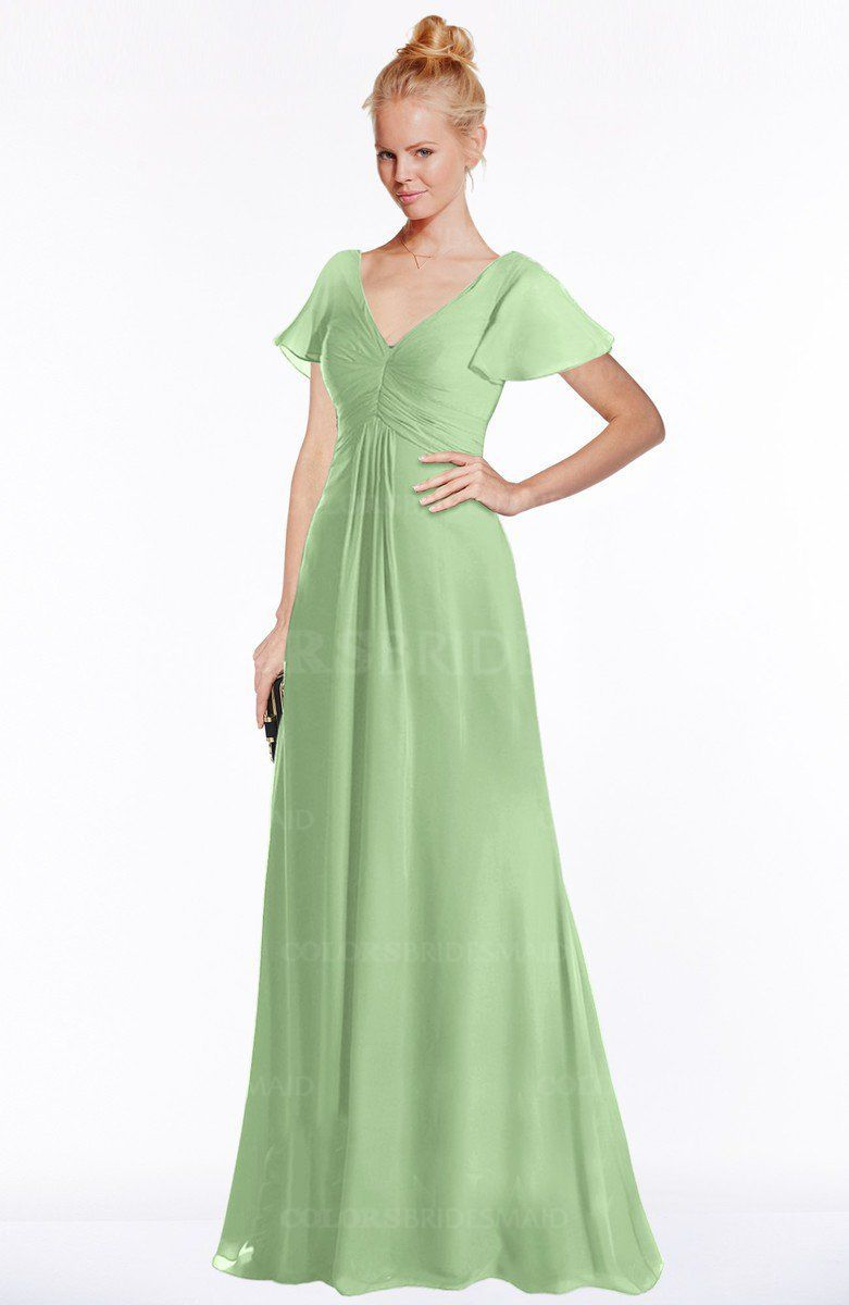 c90d50eb80 Sage Green Modern A-line V-neck Short Sleeve Zip up Floor Length Bridesmaid  Dresses (Style D01577)