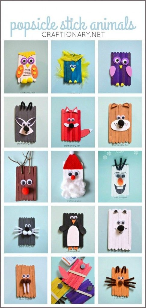 Popsicle Stick Animals Mess Free Fun For Kids Craft Stick Crafts