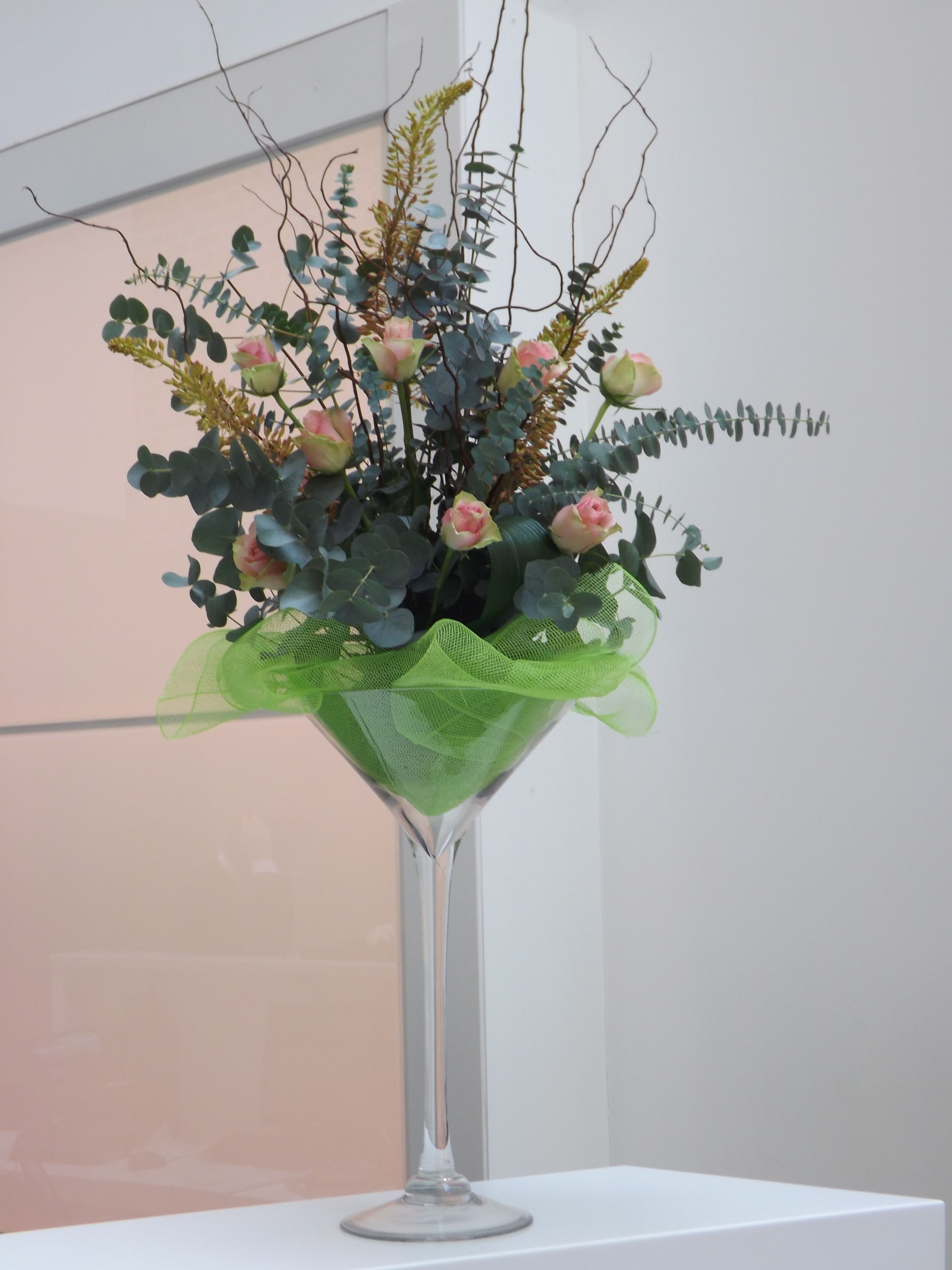 Martini glass arrangements | Martinis, Glass and Reception