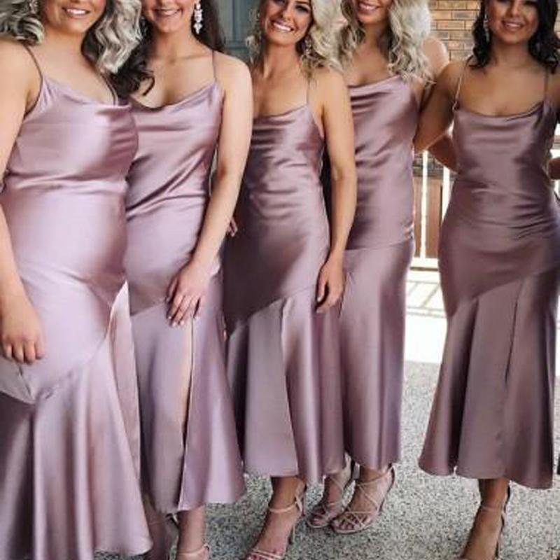 Spahgetti Straps Dusty Purple Tea Length Cheap Custom Bridesmaid Dresses Online Wg270 Tea Length Bridesmaid Dresses Silk Bridesmaid Dresses Satin Bridesmaid Dresses