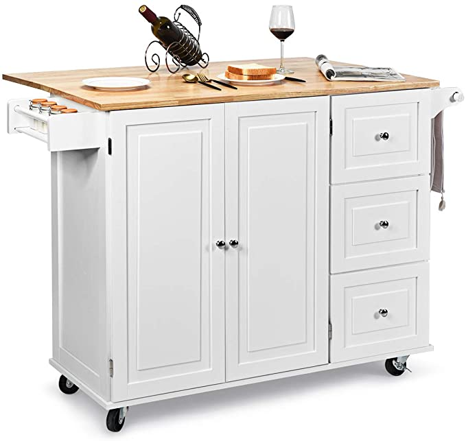 Amazon Com Giantex Kitchen Island Cart With Drop Leaf Tabletop Large Trolley Cart With Large Ca Wood Storage Cabinets Kitchen Island Trolley Spice Rack White