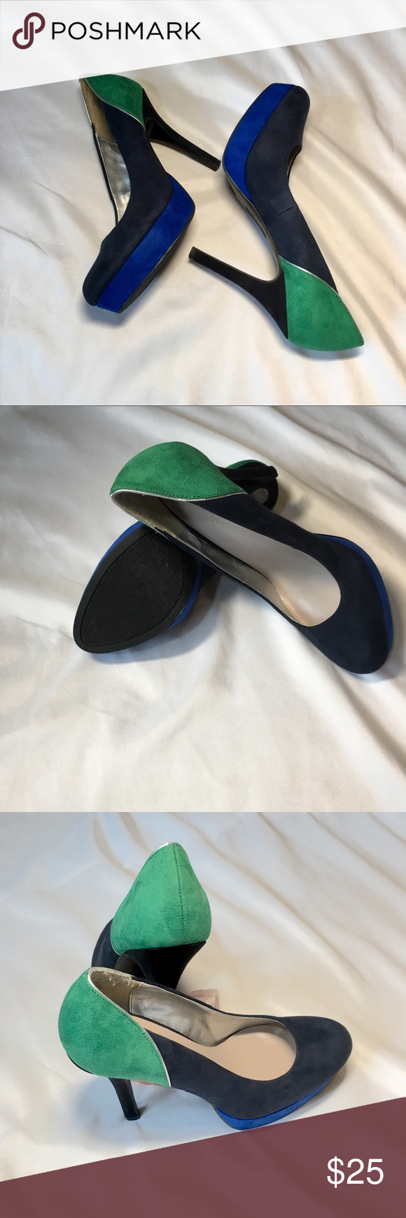 Heels for dark green dress  NINE u CO Heels  My Posh Picks  Pinterest  Blue toes Green heels