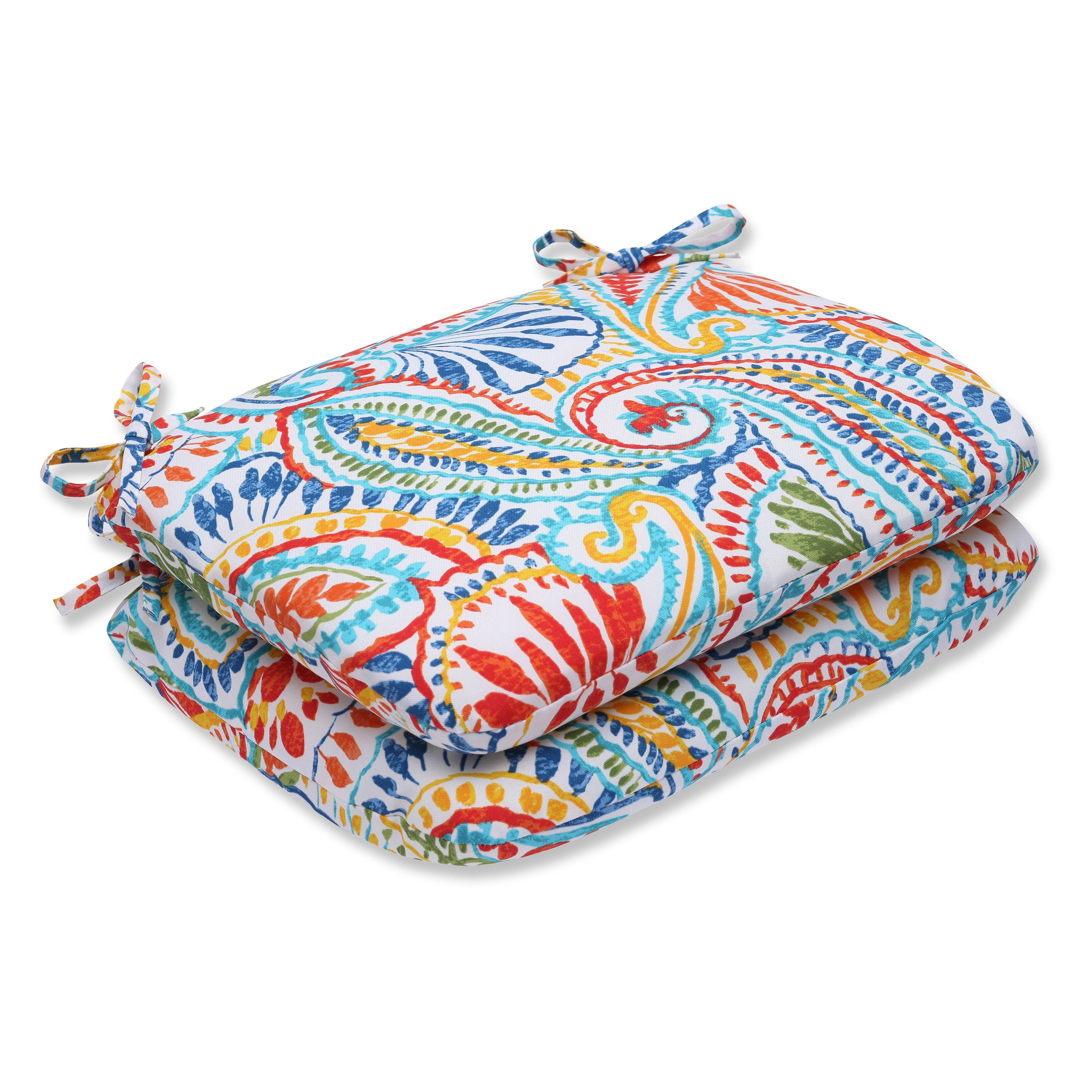 Pillow Perfect Ummi Outdoor Rounded Corners 18.5 x 15.5 in. Chair Seat Cushion - Set of 2 - 572642