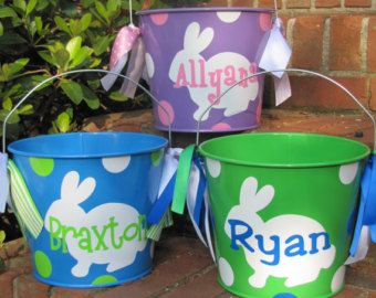 Metal Easter Bucket Basket Lots Of Designs Choose Your Color Sky Blue Pink White Green Or Purple Easter Buckets Easter And Met