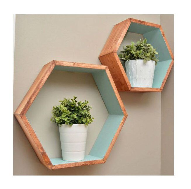 geometric shelves floating hexagon shelves minimalist wall storage rustic modern wall shelf. Black Bedroom Furniture Sets. Home Design Ideas
