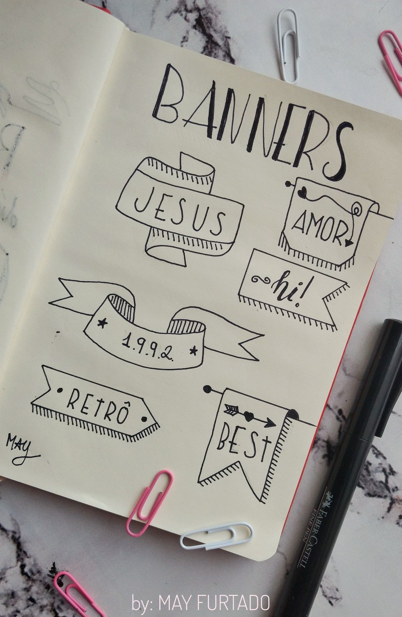 Banners e títulos para decorar bullet journal a court of torns and