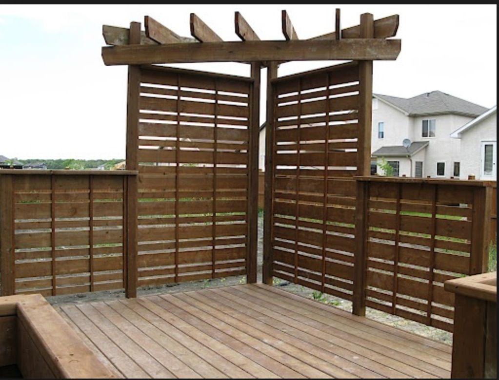 Privacy Corner Deck Shade Rustic Fire Pits Backyard Privacy