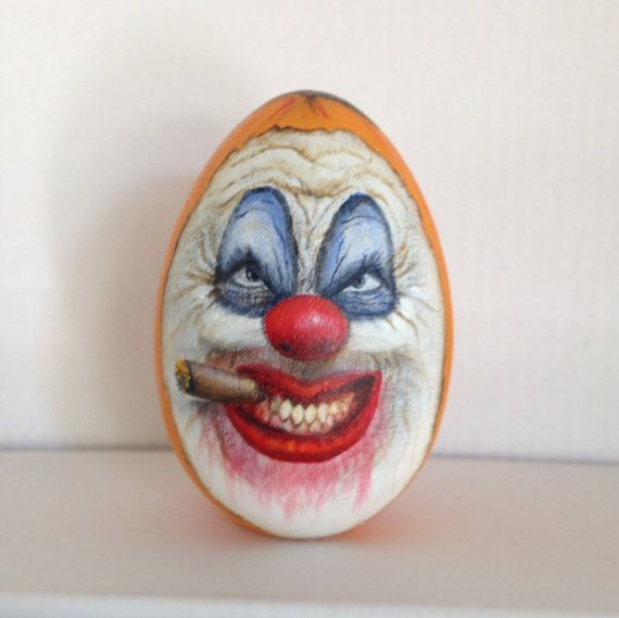 Scary clown pumpkin by woodeneggart on etsy painted for Clown pumpkin painting