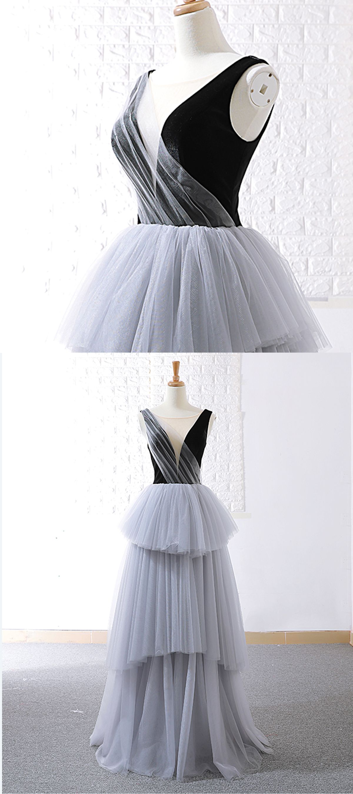 Real picture gray tulle v neck long layered evening dress senior