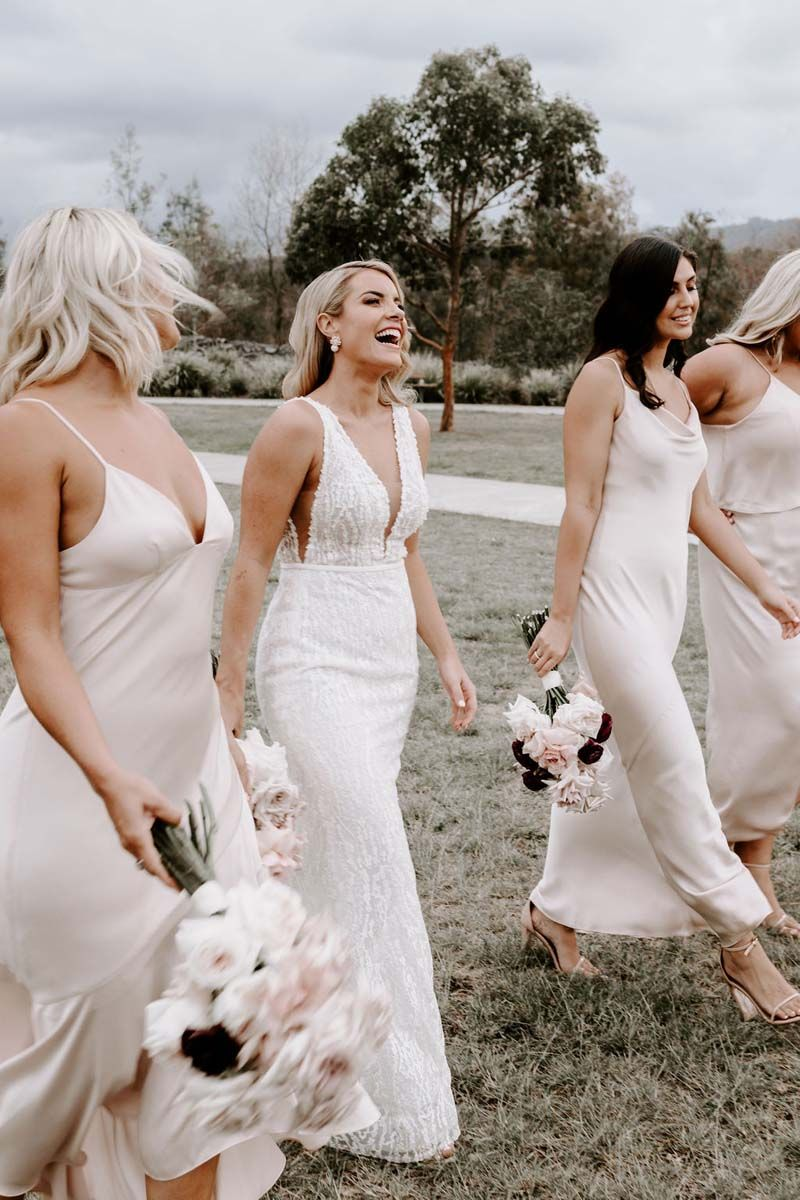 Lisa Mish S Blush Pink Real Wedding In 2020 Mix Match Bridesmaids Dresses Simple Bridesmaid Dresses Wedding Dresses Lace