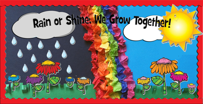 Classroom Decoration Ideas For Pre Primary School ~ Rain or shine we grow together spring bulletin board