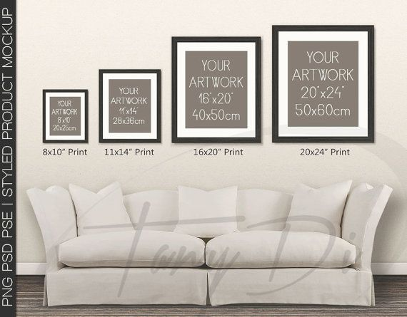 Wall Display Guide 8x10 11x14 16x20 20x24 Scene Creator Photoshop Print Mockup Vertical Horizontal Frames Blue Sofa Interior Wdg 4 4 Frames On Wall Living Room Images Living Room Wall