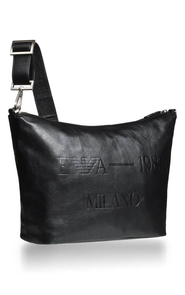 7ead22ee8336 Emporio Armani Mens Calfskin Leather Messenger Bag 1
