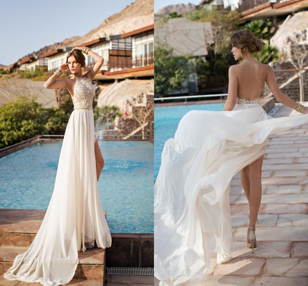 Cheap Lace Wedding Dress - Discount 2014 Beach Backless Lace Chiffon ...