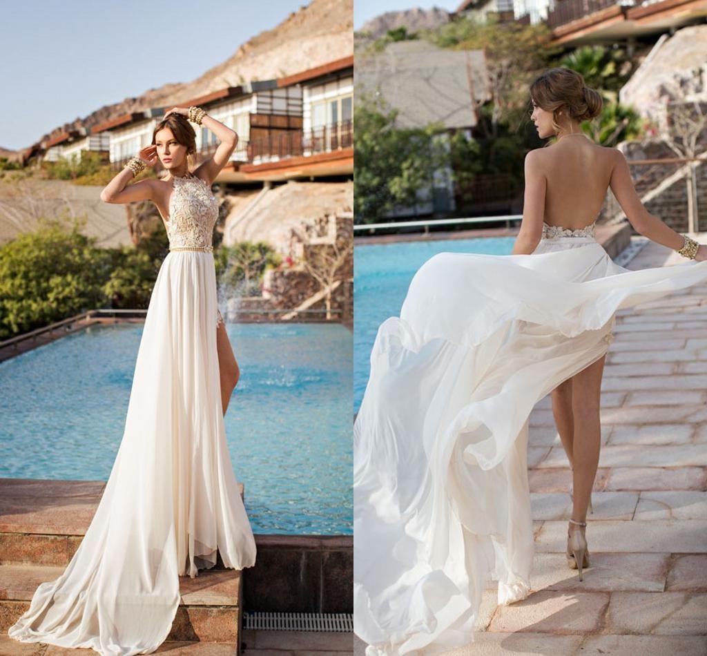 Cheap Lace Wedding Dress - Discount 2014 Beach Backless Lace Chiffon ...