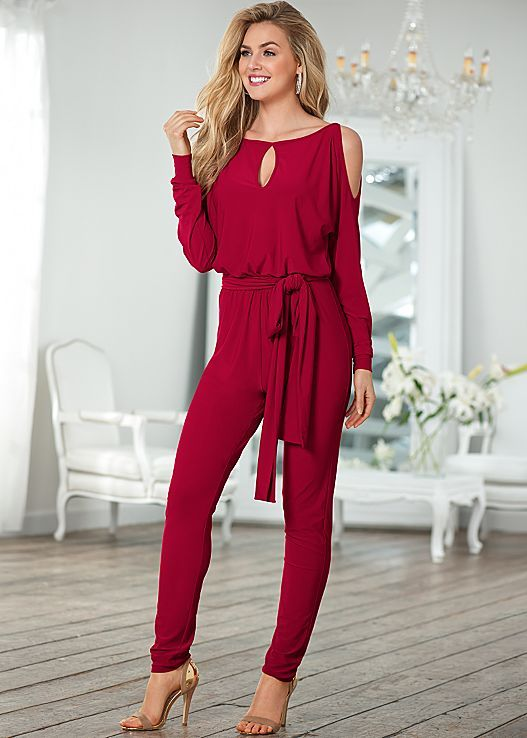 3addd4e4f0db RED Cold shoulder jumpsuit
