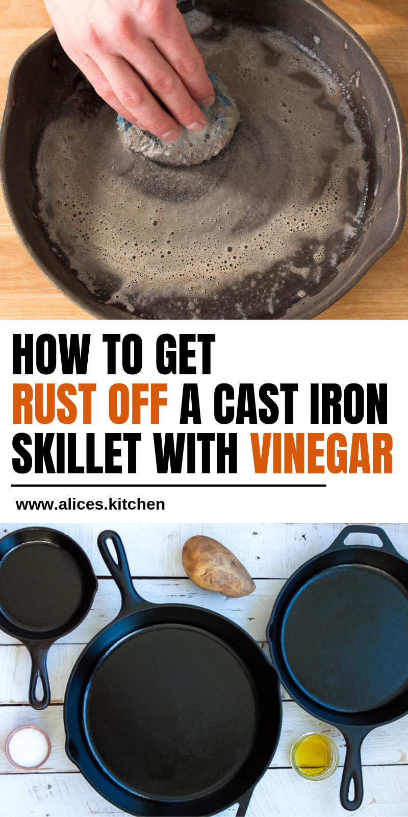 How To Get Rust Off A Cast Iron Skillet With Vinegar Cleaning Cast Iron Pans Cleaning Cast Iron Skillet Cast Iron Skillet