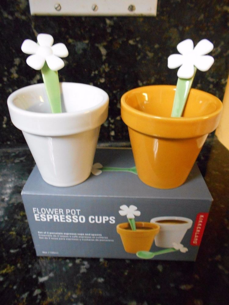 Kikkerland Flower Pot Espresso Cups - 2 Count!!