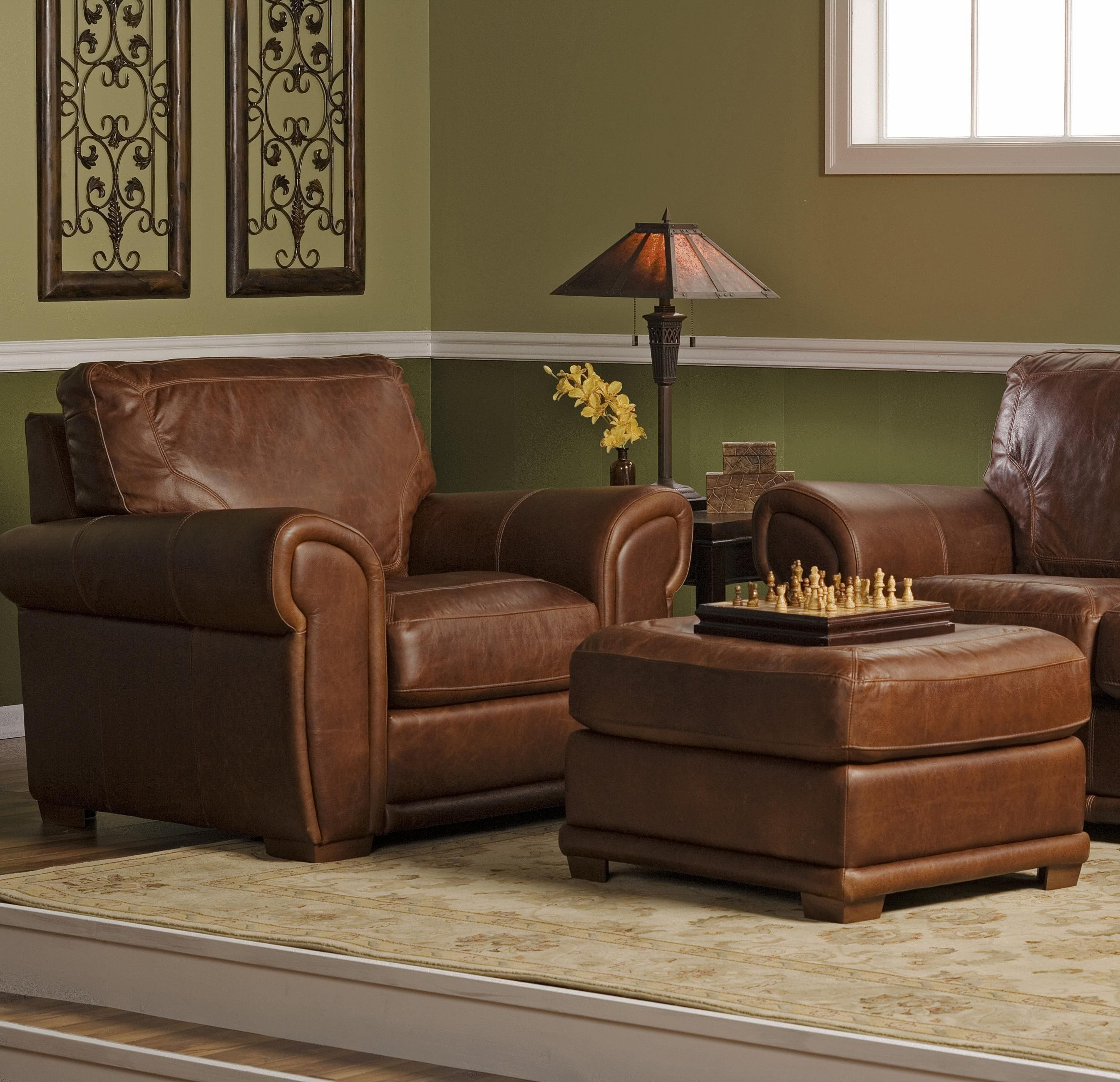 Spence Leather Chair and Ottoman Combination Set by Palliser