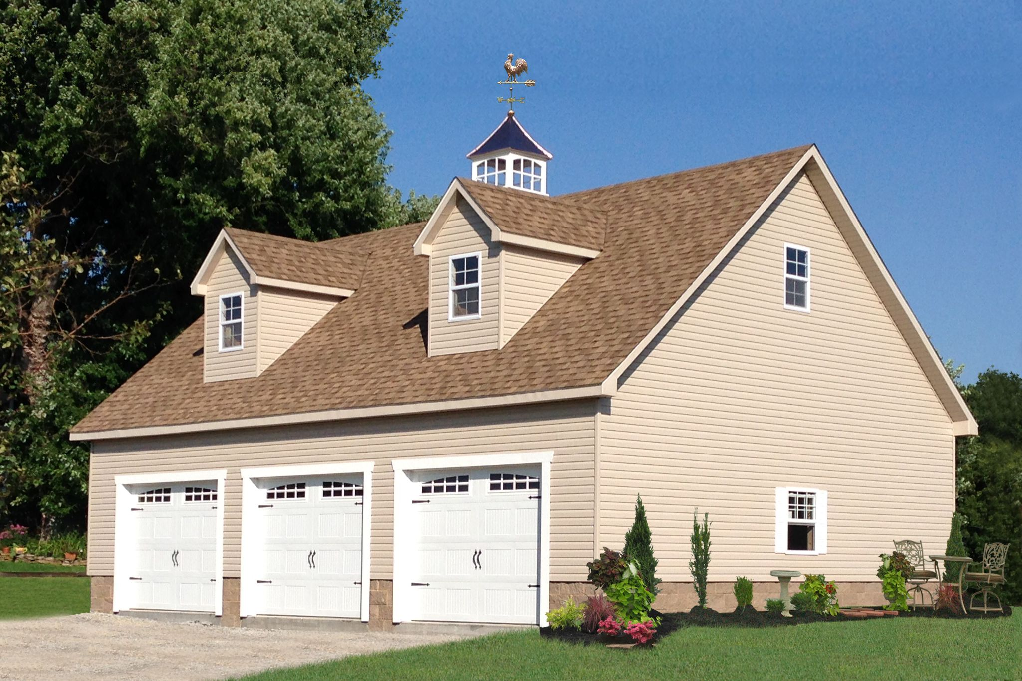 Attic Three Car Garage Prefab Garages Three Car Garage Garage Design