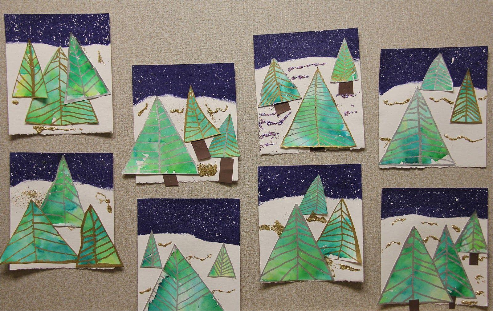 Artz Kiddoz 2nd Graders Tissue Paper Painted Evergreen