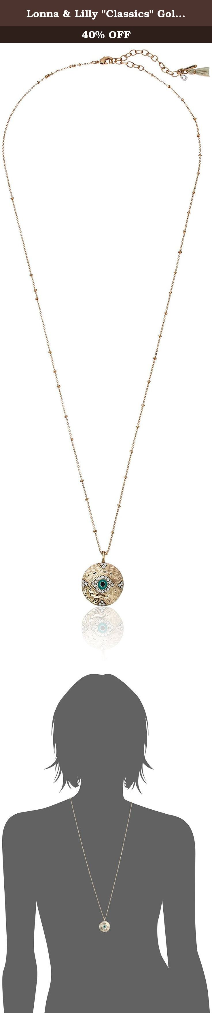 """Lonna & Lilly """"Classics"""" Gold-Tone/Turquoise Evil Eye Pendant Necklace, 28"""" + 3"""" Extender. Made in Vietnam. Gold-Tone/Turq Evil Eye Pendant. Imported."""