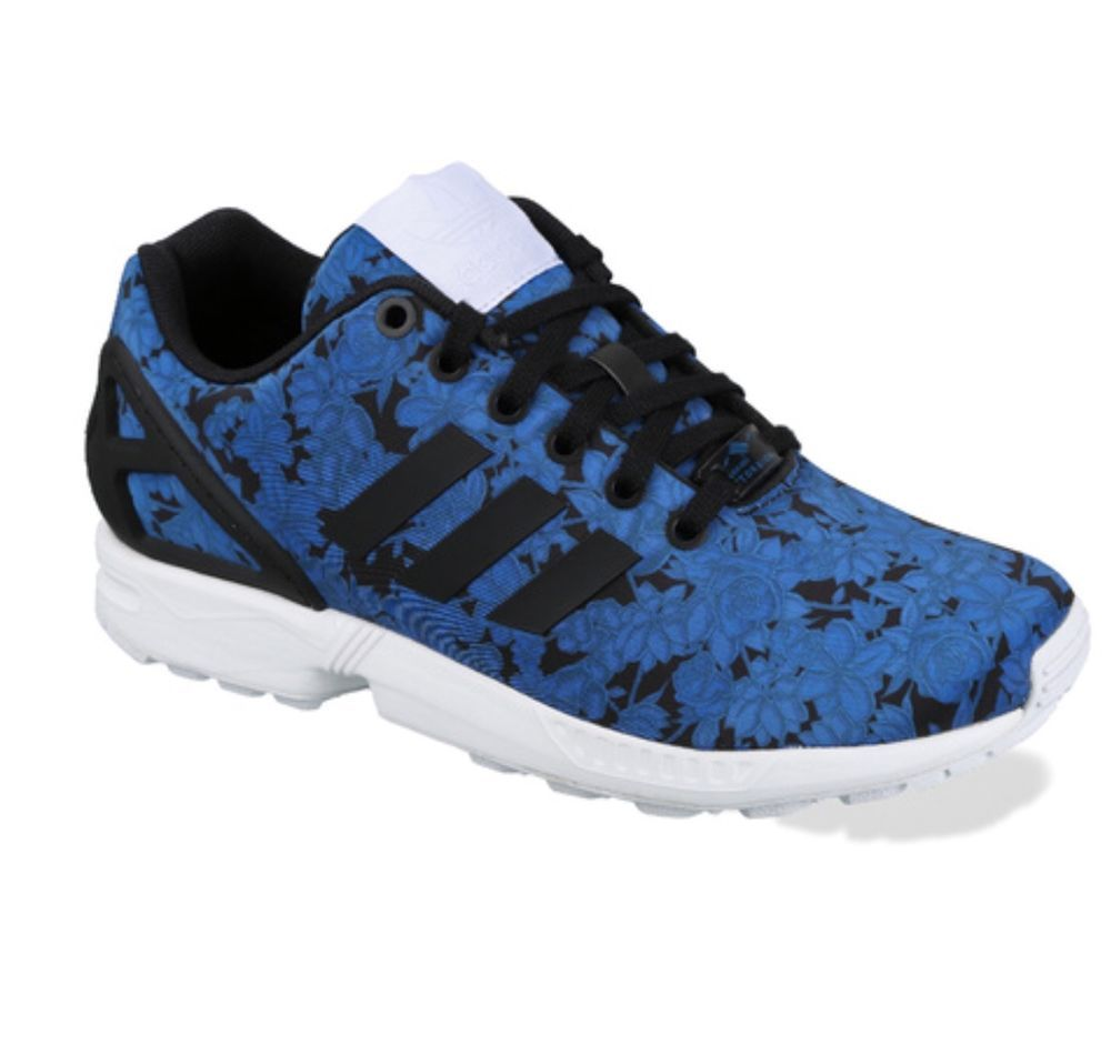 adidas ZX Flux Trainers Black and Navy Floral Design